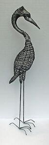 Small Silver Nodding Heron - Unusual Metal link Spring Neck Bird Ornament