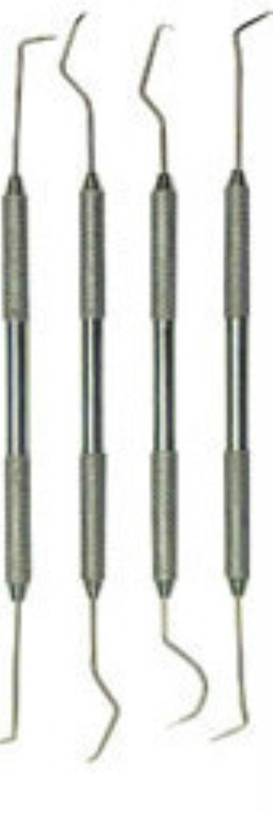 4pc Dental Picks Probe Wax Carver Set Stainless Steel #Dd310c Us Free Fast Ship