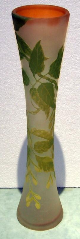 "EMILE GALLE  C 1910 ORIGINAL   CAMEO GLASS GRAND VASE DESIGN HEIGTH:22.5 """