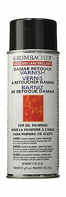 Grumbacher Damar Retouch Gloss Varnish Spray for Oil Paintings ... Free Shipping
