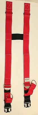 Firefighter Suspenders Red Padded H Style Inno Tex Rwp-t Turnout Gear Nos Gray