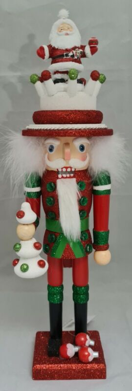 "Christmas Santa Soldier Nutcracker Red Green 18"" Wood Kurt Adler Hollywood"