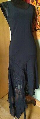JOHN RICHMOND ITALIAN LUXURY DESIGNER SLIP DRESS 10 / 38 Black SILK Embroidered