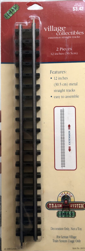 """Lemax Village Collection Train System 2 pc 12"""" expansion Straight Tracks NEW"""