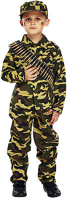 Kids Soldier Costumes (Kids Army Soldier Camouflage Dressing Up Costume Childrens Fancy Dress Boys)