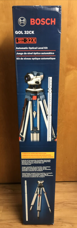 Bosch 32-X Zoom Optical Level Kit with Tripod and Rod GOL32CK New