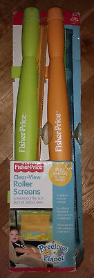 NEW Fisher Price 2 Pack Auto Vehicle Window Roller Shades Baby Child clear view