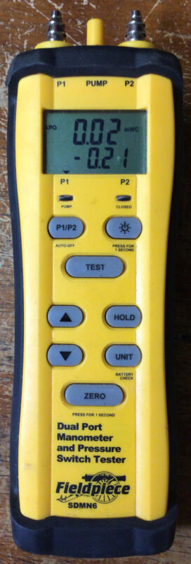 Fieldpiece SDMN6 Dual Port Manometer And Pressure Switch Tester Unit Only Used
