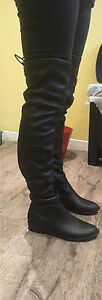Black faux leather above the knee boots Kawartha Lakes Peterborough Area image 2