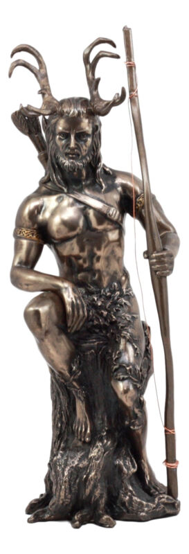 """Ebros Celtic Pagan God Herne The Hunter Statue 11"""" Tall in Bronze Patina Finish"""
