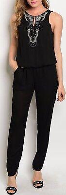 Black Beaded FrontKeyhole NecklineTank Romper/Jumper/Cat Suit Jump Suit S M - Cat Suit Black