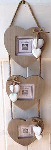 Chic & Shabby Grey Triple 3 Wooden Hanging Heart Rustic Photo Frame White Hearts