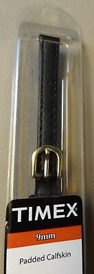 (New Womens Timex Black Padded Genuine Leather Calf 9mm Watch Band Strap $9.95)