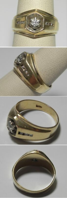 C1204 Vintage 14K Solid Yellow Gold Tapering Diamond Ring, Sz 7