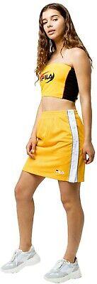 Fila Womens Josefa Tube Top, Black Combo Yellow Large L Racing Logo Stripe Side
