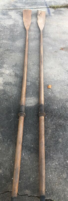 Vintage Sculling Oars 9.5 Ft Wood Leather Collars