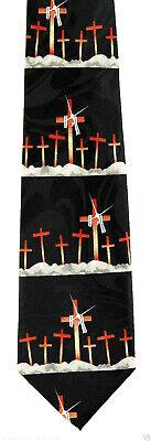 Easter Crosses Men's Necktie Religious Jesus Christian Bible Black Neck Tie  - Easter Christian