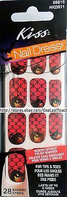 28 KISS Nail Dress Set GOBBLINS Art Strip/Applique/Decal HALLOWEEN Black Skulls (Halloween Nail Strips)