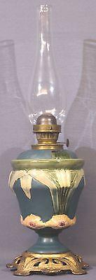 Jugendstil Majolika Petroleumlampe