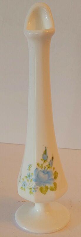 VTG Fenton Milk Glass w/Blue Roses Bud Vase Handpainted &Signed by M Reynolds