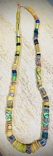 "Vintage African Sand Cast Glass Bead Necklace 16 ½"" Drop - Multi Colored & Shape"