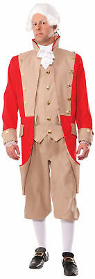 Men's British Army Red Coat Adult Costume Uniform Halloween Soldier Military New](Army Men Costumes)