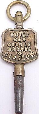 Antique Advertising Pocket Watch Key. Todd. 8&9 Argyle Street, Glasgow. Ref WK2