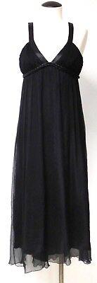 LAUNDRY AMAZING GREEK GODESS STYLE BLACK SILK MIDI DRESS HI LOW HEMLINE SZ 6 - Greek Godess Dress