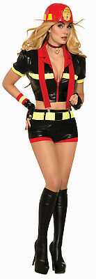 Womens Red Hot Mamma Sexy Firefighter Costume Adult Size M/L - Hot Firefighter Costume
