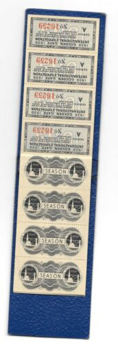 1939-40 GGIE ADULT ADMISSION TICKETS 39/50 IN ORIGINAL BOOKLET- NICE SHAPE