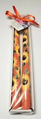 "Tapered Candle Sticks Sunflowers Autumn Thanksgiving Hand Painted 10"" Set Of 2"