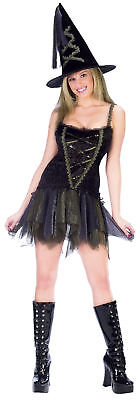 Sexy Flirty Witch Adult Women's Costume Lace Up Front Mini Fancy Dress Funworld