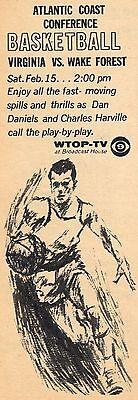 1964 Tv Basketball Ad Wafe Forest Demon Deacons Virginia Cavaliars Wtop