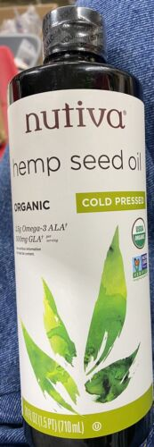 Nutiva Hemp Seed Oil Organic Cold Pressed 24 Fl Iz