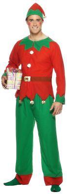 Male Santas Little Helper Red Christmas Elf Fancy Dress Costume