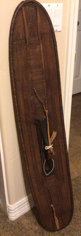 """African Antique Hand Made Rattan Shield From The Congo Very Old 47""""x9 1/2"""""""