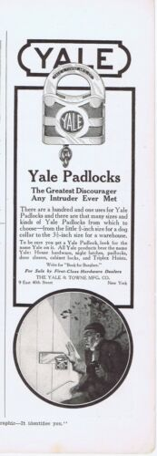 1916 Advertisement - YALE PADLOCKS, THE YALE & TOWNE MFG.  CO., NY, NY