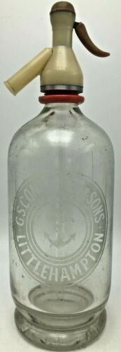 Vintage G.S. Constable & Sons Glass Seltzer Bottle Littlehampton Anchor London