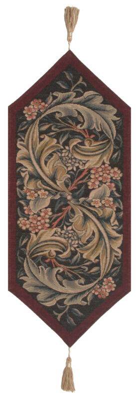 William Morris Red Small French William Morris Tapestry Table Runner 33x14""