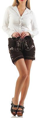 Damen Lederhose Kurz braun Trachten Shorts ohne Hosenträger (Leder Shorts Kostüm)