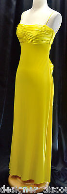 Couture Jersey Gown - MARY L. COUTURE Dress Evening Gown Yellow matte jersey satin criss cross back 4