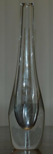 """Vintage Orrefors Clear Glass Bud Vase Signed & Numbered 11.75"""" Tall"""