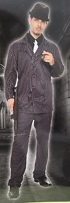 GANGSTER XL MEN'S COSTUME Adult Halloween Criminal Mafia Pin-Striped Suit NEW