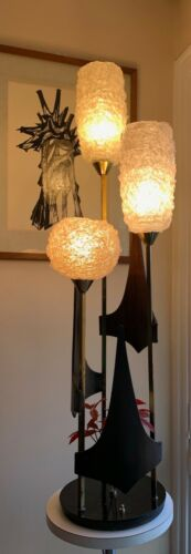 Vintage 60s 70s Spun Lucite Spaghetti Shade Lamp Mid Century Modern Lighting