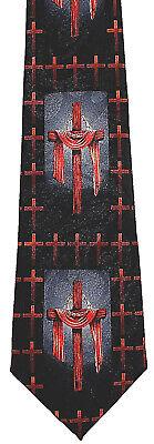 Draped Cross Men's Neck Tie Easter Christian Jesus Religious Gift Black Necktie - Easter Christian