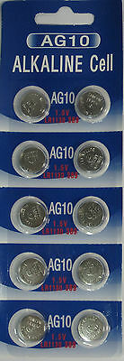 - 10 Pk AG10 LR1130 389 390 189 L1131 LR54 D389 Alkaline Button Cell Battery