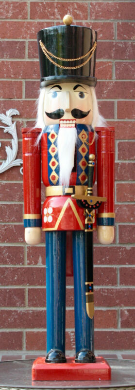 """TRADITIONS LARGE 39"""" WOODEN DECOR OLD WORLD  SOLIDER NUTCRACKER NEW IN BOX"""