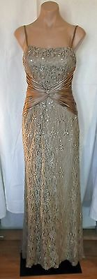 Fabulous Edw-30s Style Golden Mocha Lace Satin Sequin Gown by Rina di Montella
