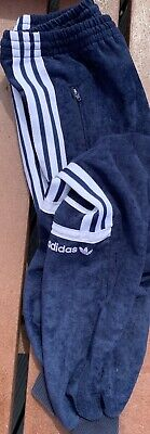 Navy Velour Adidas Tracksuit Bottoms Small VGC