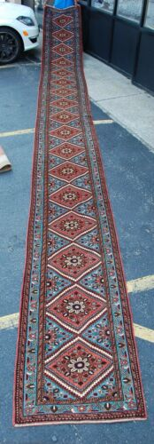 C1930s Antique Long Narrow Size_fine Persian Lilihan Malayer Rug Runner 2.7x25.4